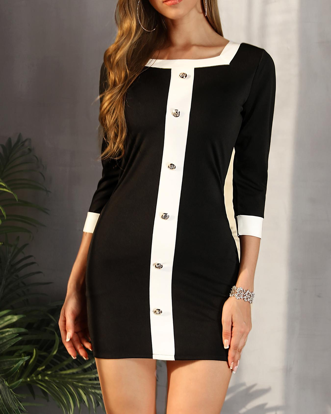 ivrose / Contrast Color Single Breasted Mini Dress