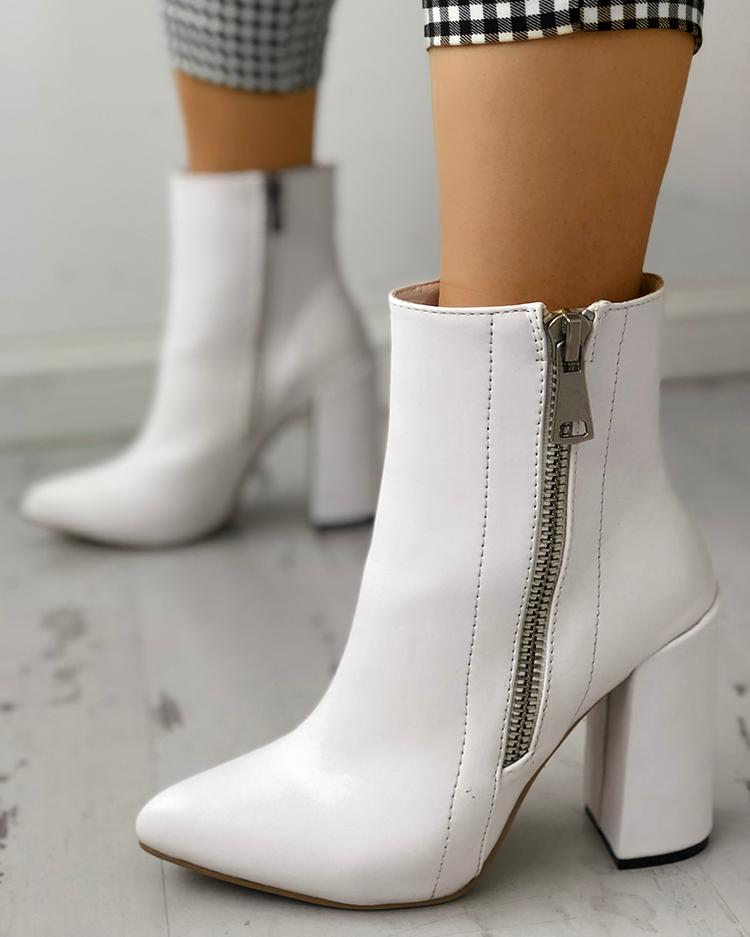 Pointed Toe Zipper Up Chunky Heeled Boots фото