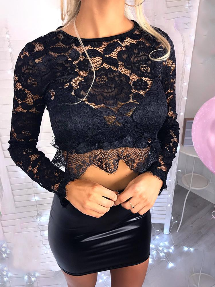 Eyelash Lace Long Sleeve Crop Top