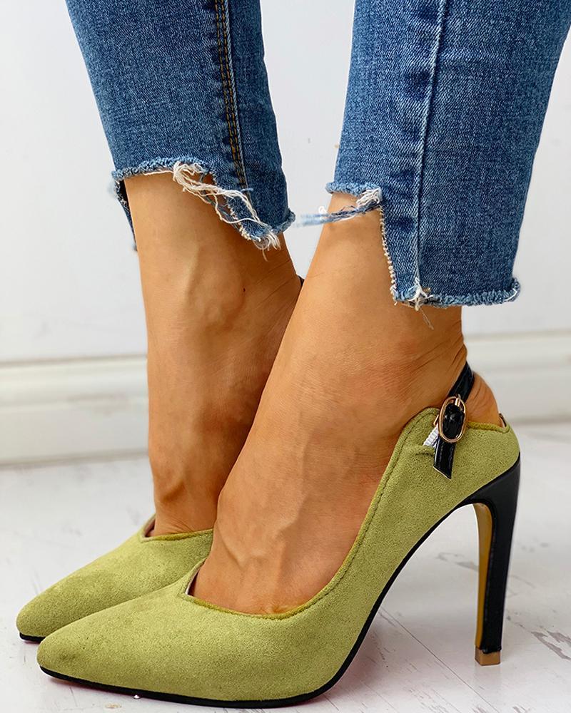 joyshoetique / Suede Pointed Toe Slingback Thin Heels