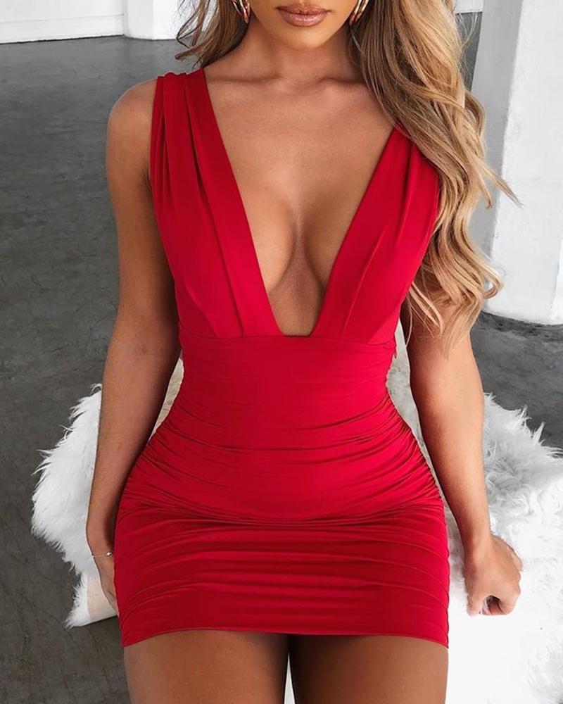 Deep V Neck Sleeveless Bodycon Dress фото