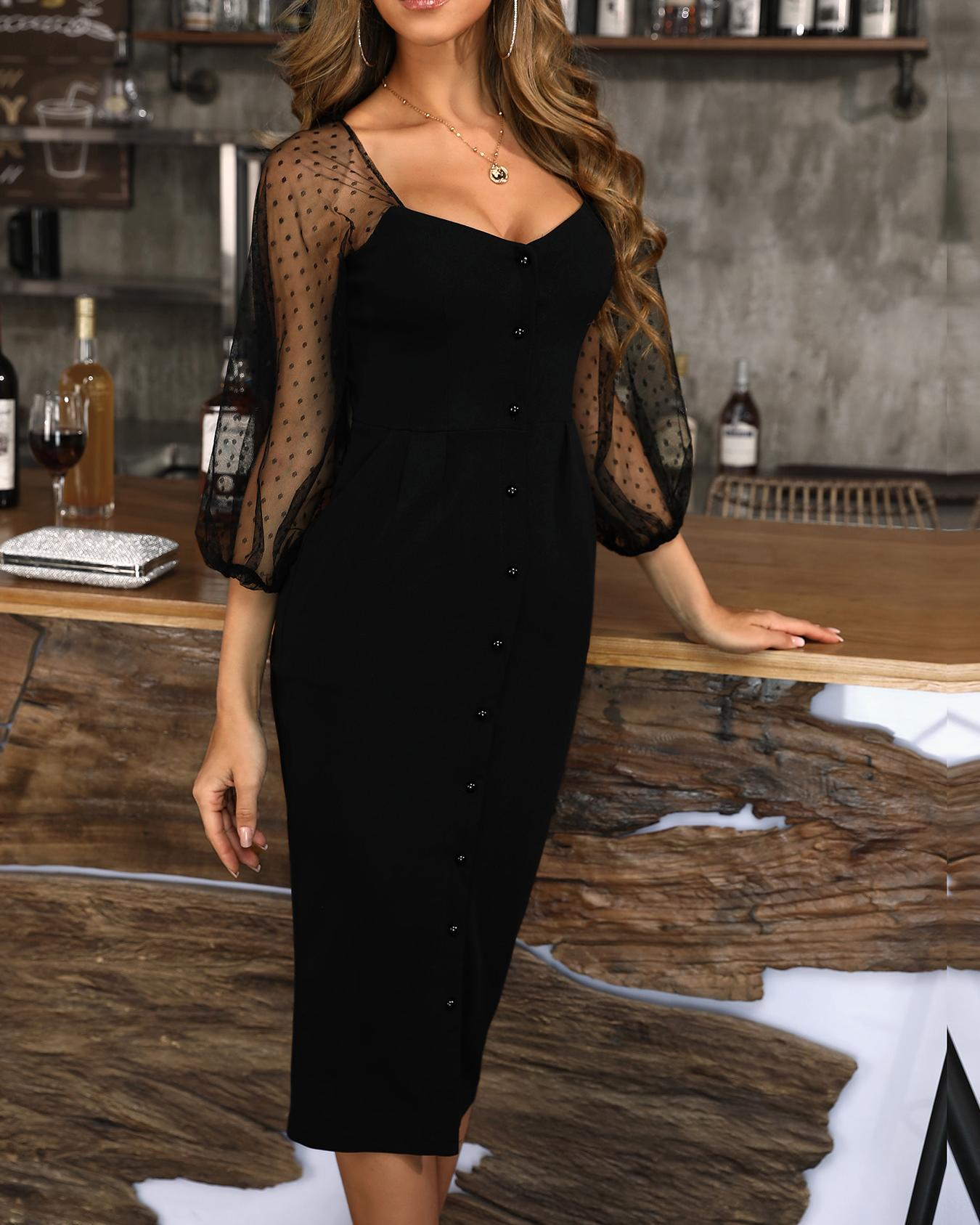Mesh & Dots Sleeve Single Breasted Dress фото