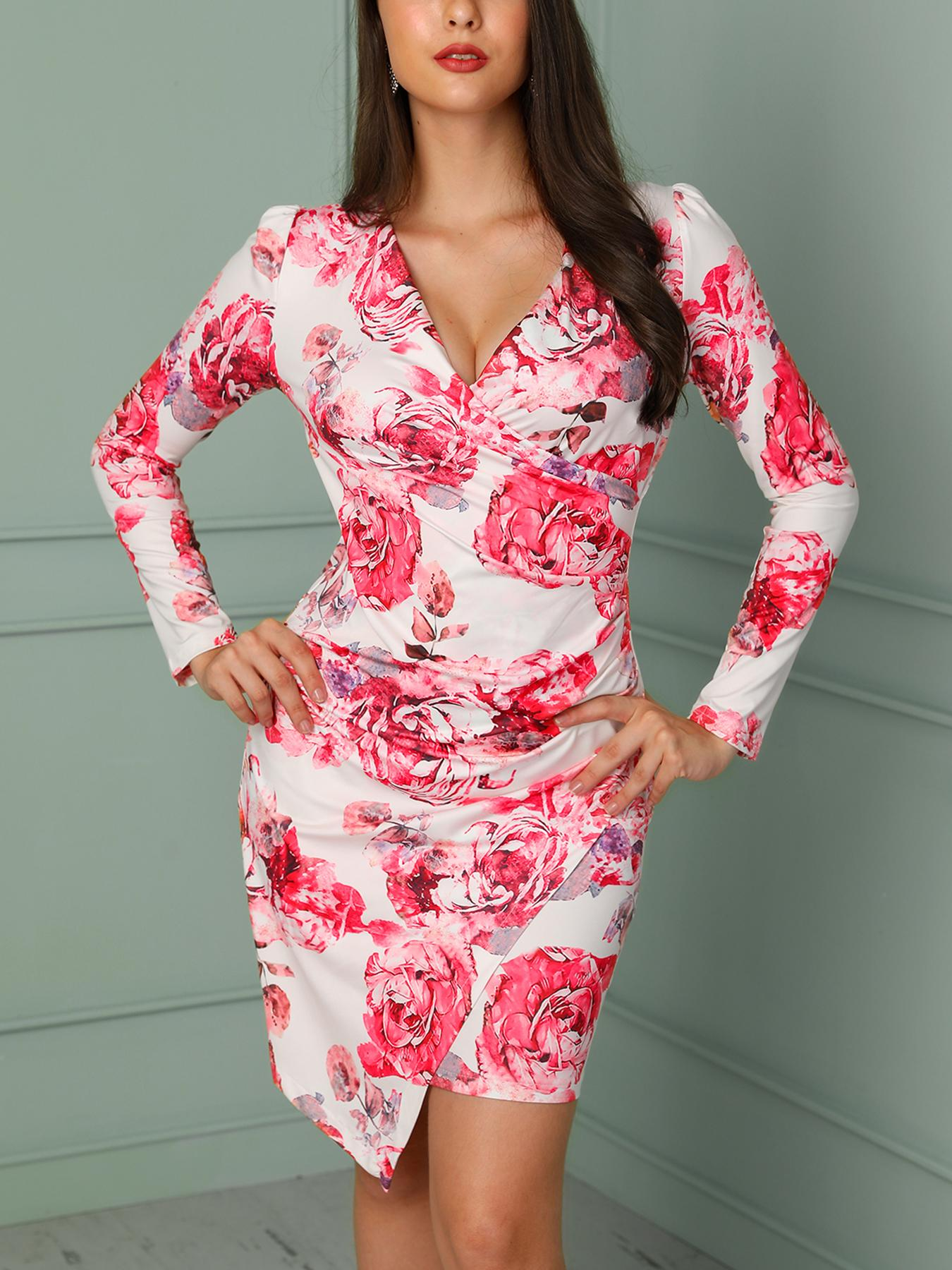 chicme / Floral Print Ruched Wrapped Irregular Dress