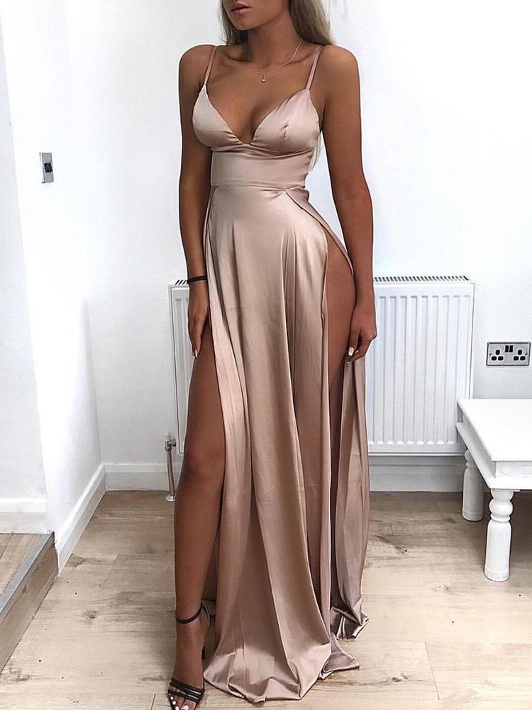 joyshoetique / Low Cut High Slit Maxi Slip Dress