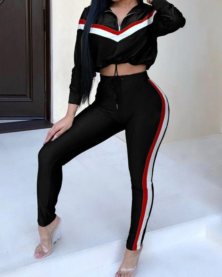 Contrast Stripes Crop Top & Long Pants Sets фото