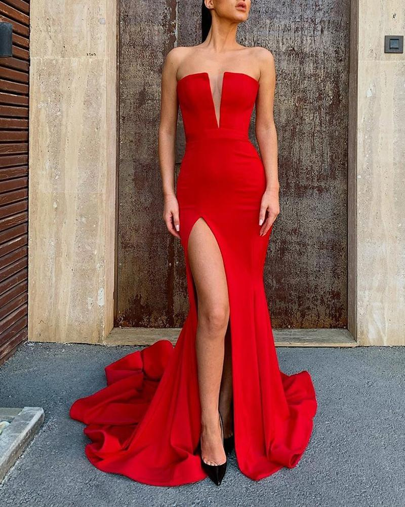 V Neck Court Train Slit Dress, Red