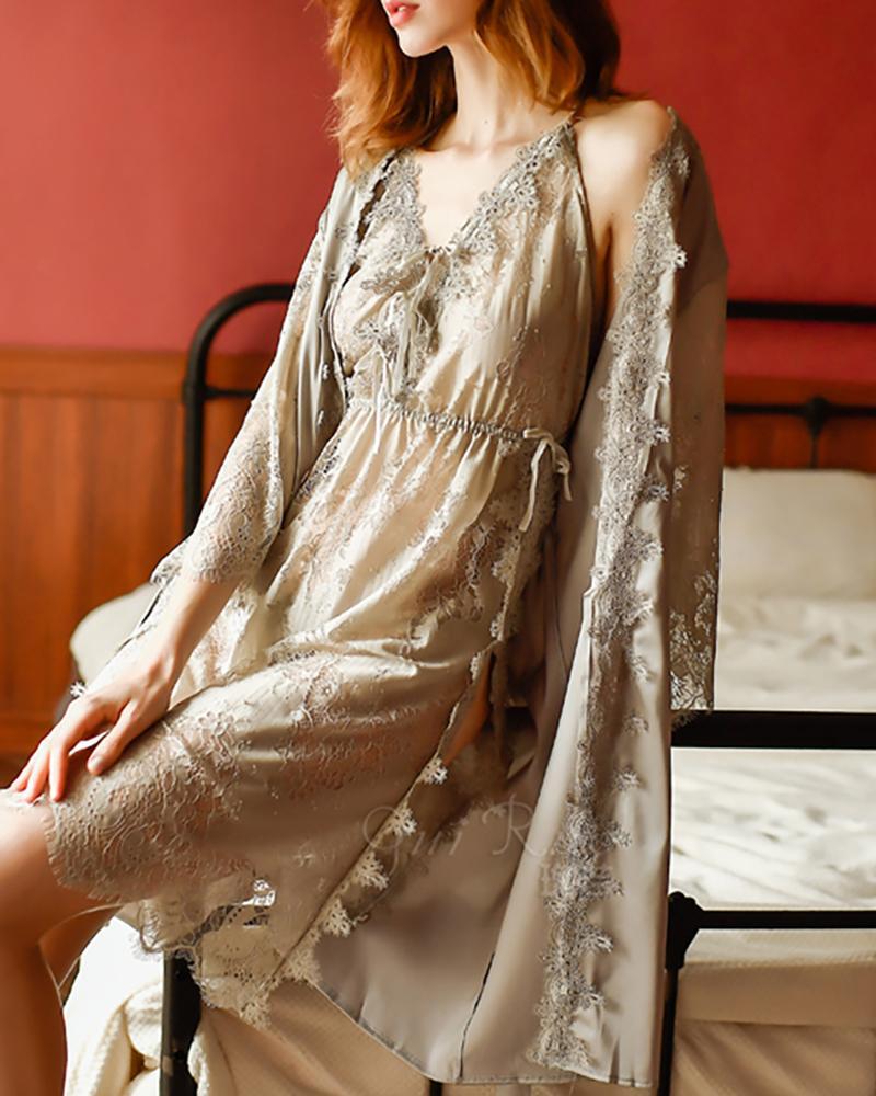 V-neck Eyelash Lace Tie Front Slit Dress фото