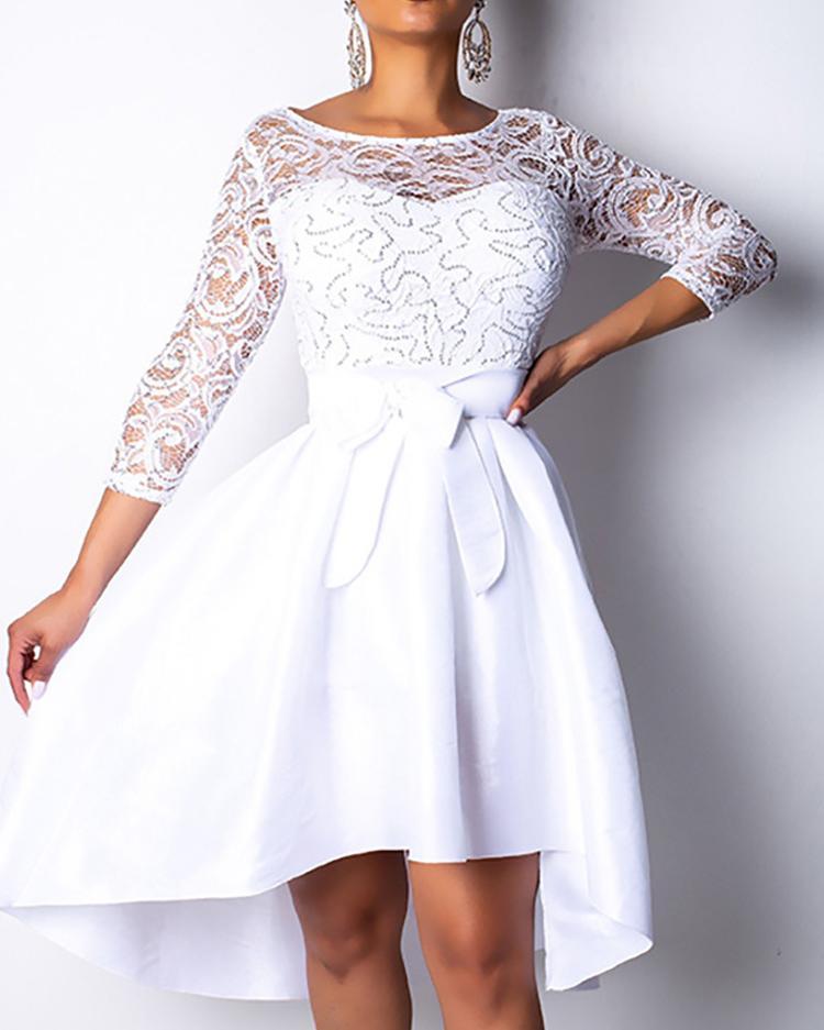 boutiquefeel / Blusa de encaje con dobladillo irregular vestido con cinturón