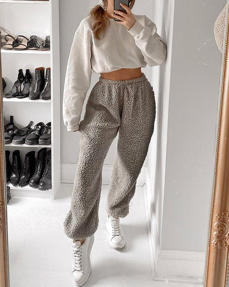 Solid High Waist Fluffy Casual Pants фото