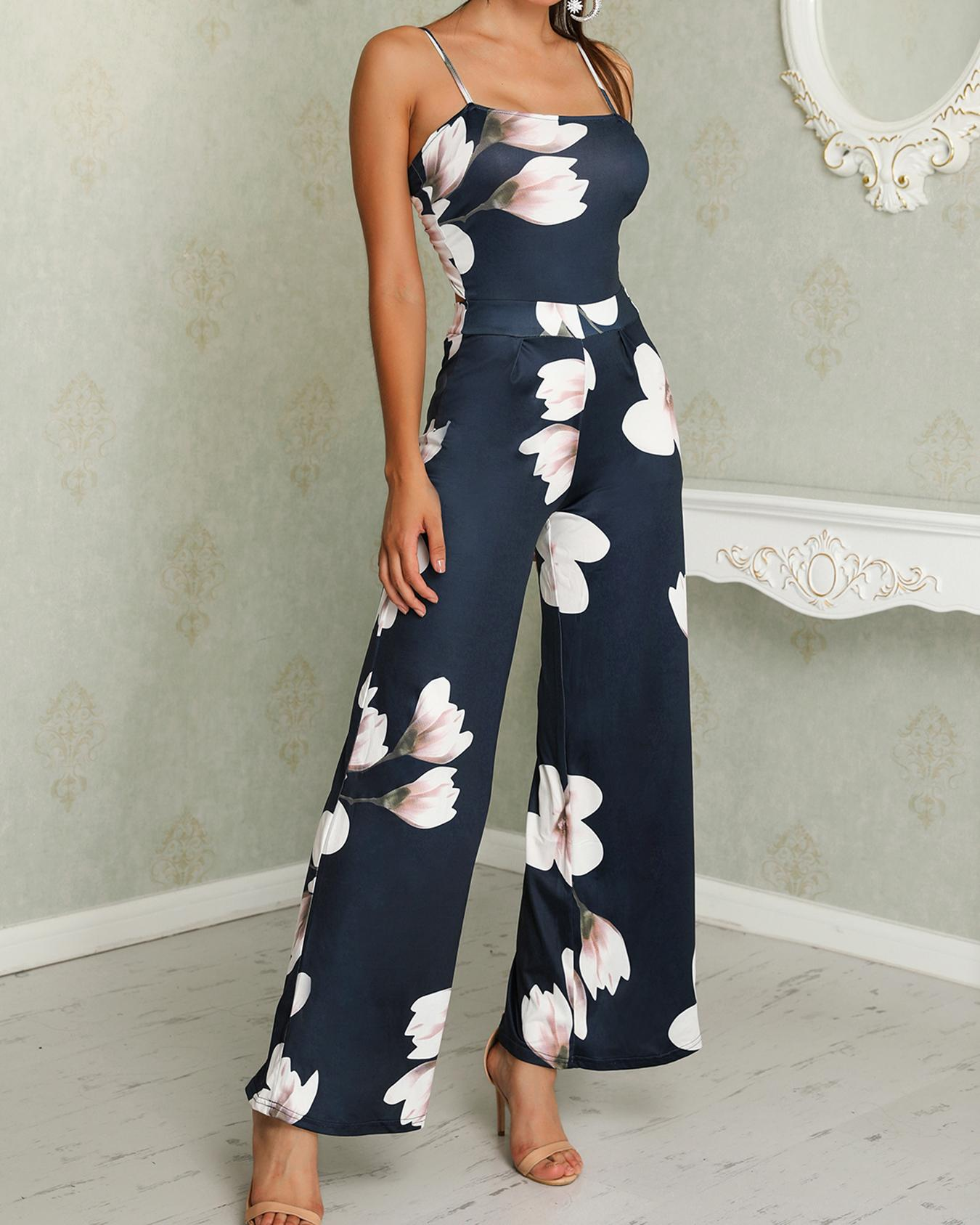Floral Spaghetti Strap Wide Leg Jumpsuit фото
