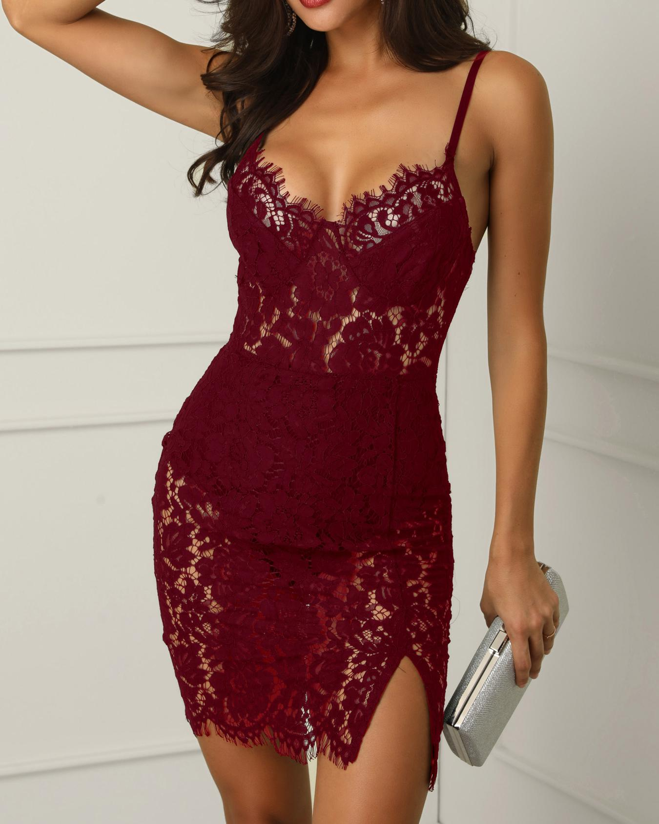Eyelash Lace Crochet Side Slit Bodycon Dress, Wine red