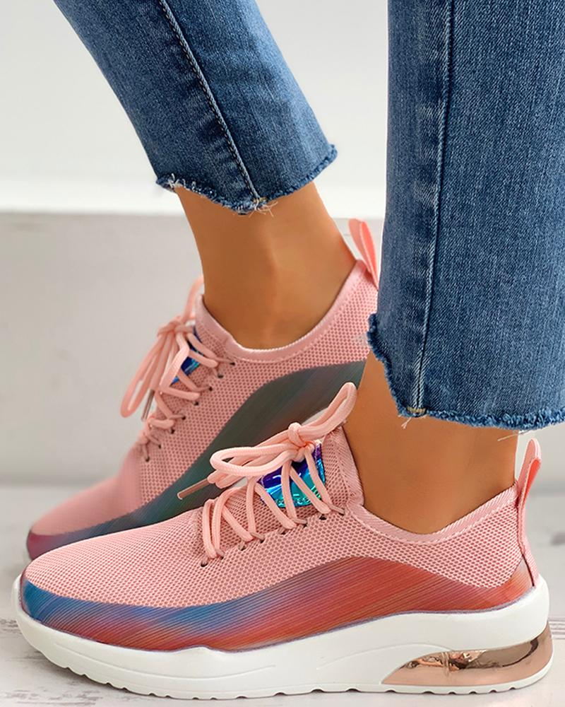 ivrose / Lace-Up Colorblock Breathable Sneakers