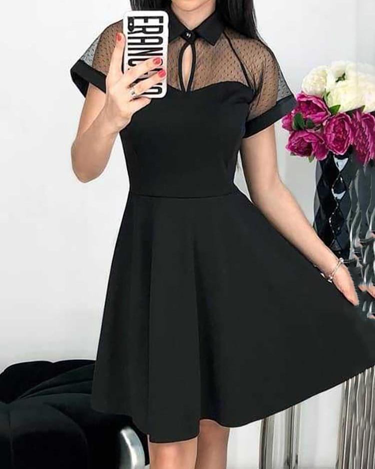 Mesh Yoke Short Sleeve Casual Dress