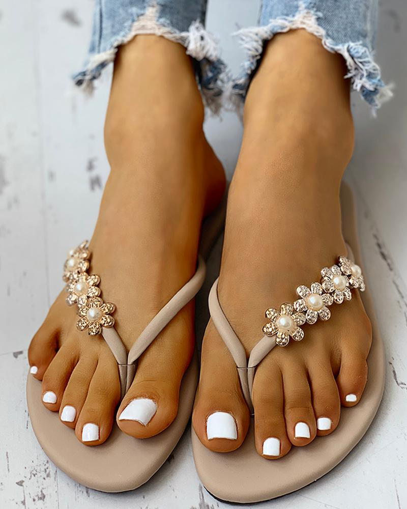 Flower Embellished Toe Flat Sandals фото