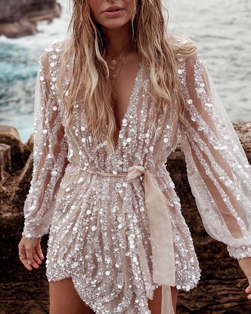 ivrose / Vestido de manga de linterna de malla transparente con lentejuelas brillantes