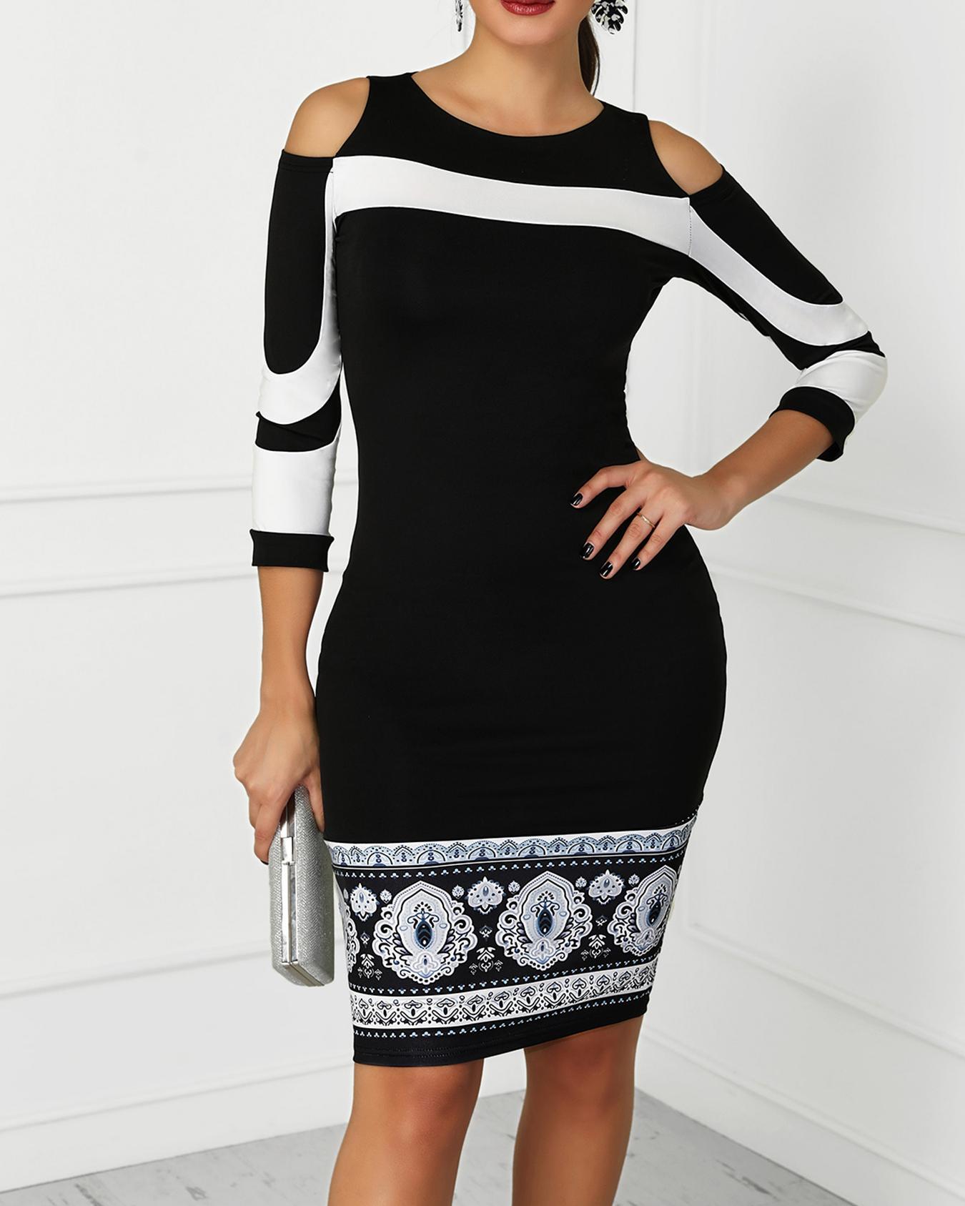 Cold Shoulder Colorblock Insert Slinky Dress