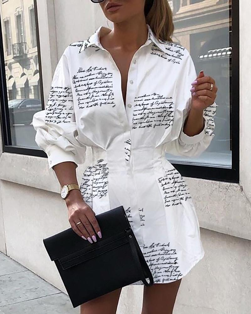 chicme / Letter Print Tight Waist Shirt Dress