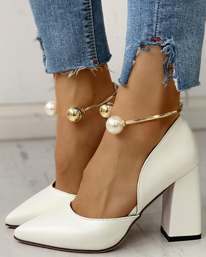 Solid Pointed Toe Beaded Chunky Heels, White