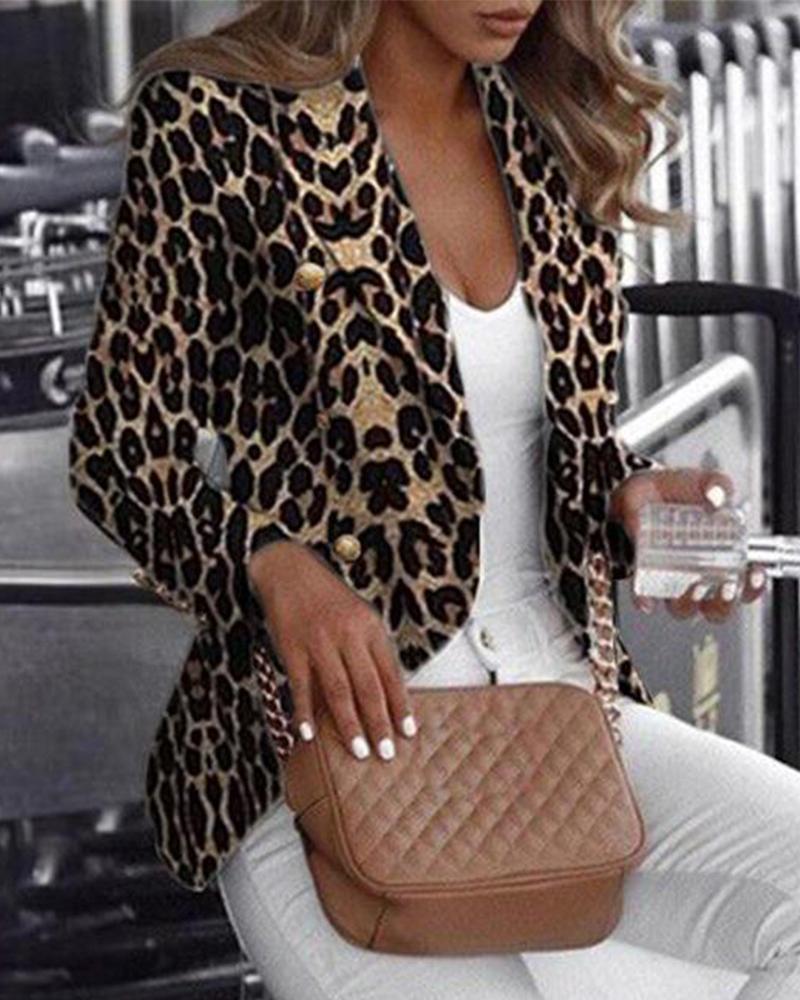 Long Sleeve Leopard Printed Blazer фото