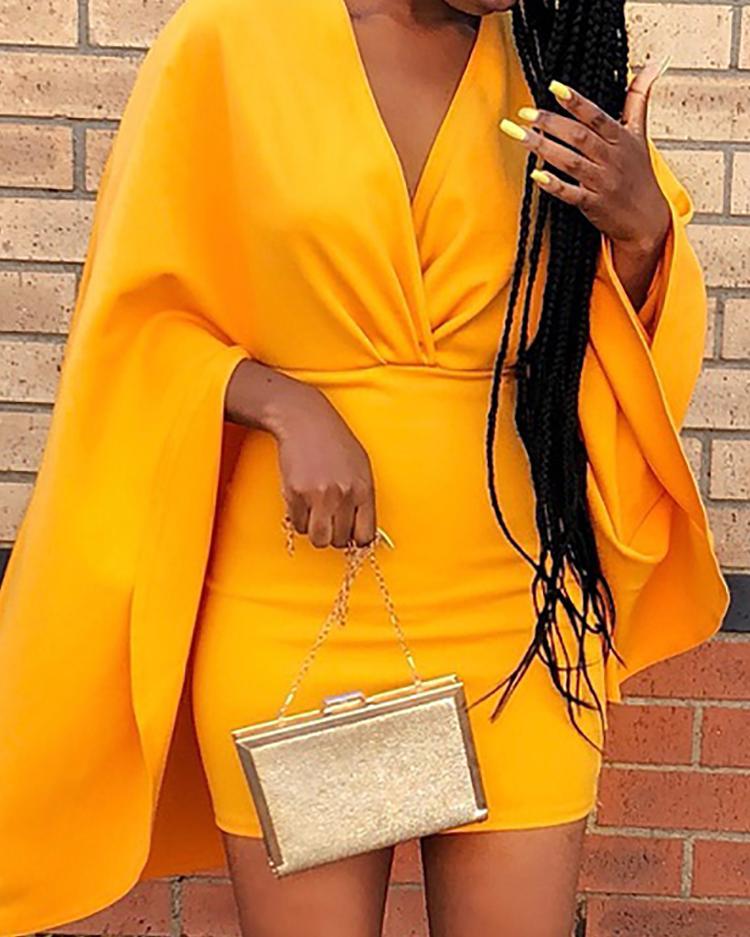 Deep V Ruched Cape Design Bodycon Dress