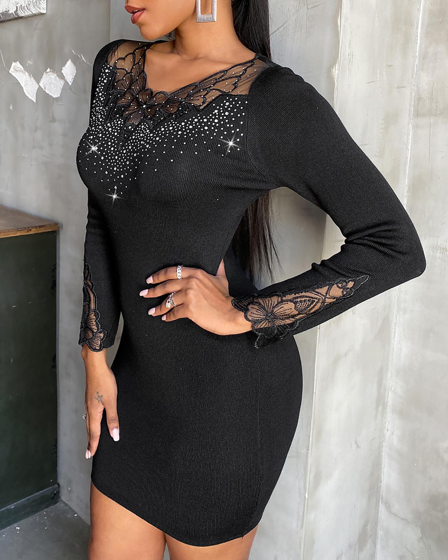 joyshoetique / Studded Lace Long Sleeve Bodycon Dress