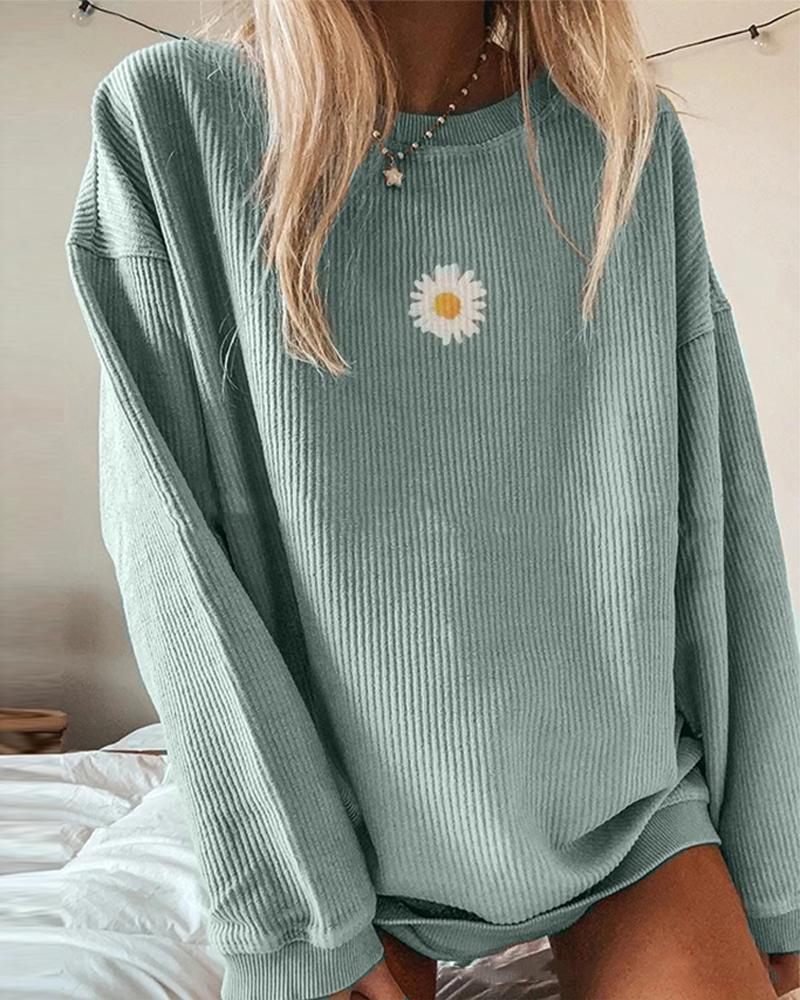 Ribbed Daisy Print Oversized Sweatshirt фото