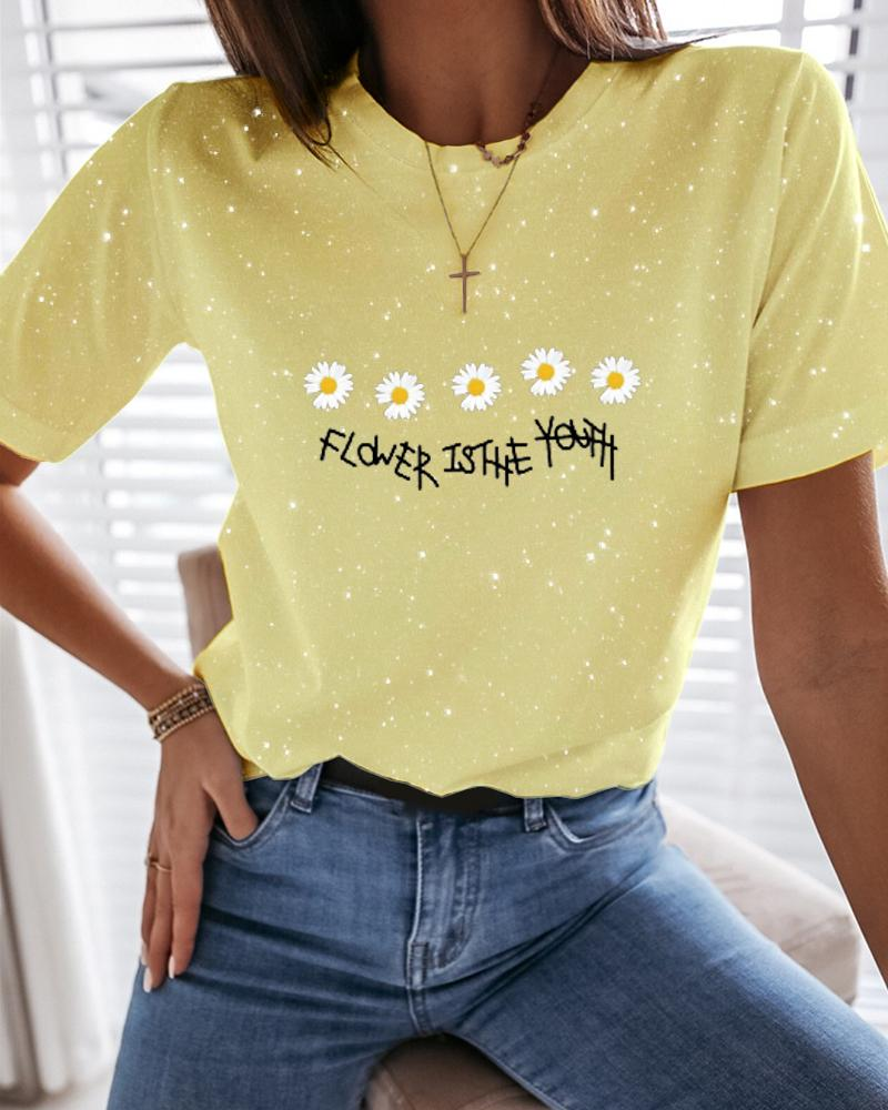 Daisy Letter Print Glitter T-Shirt фото