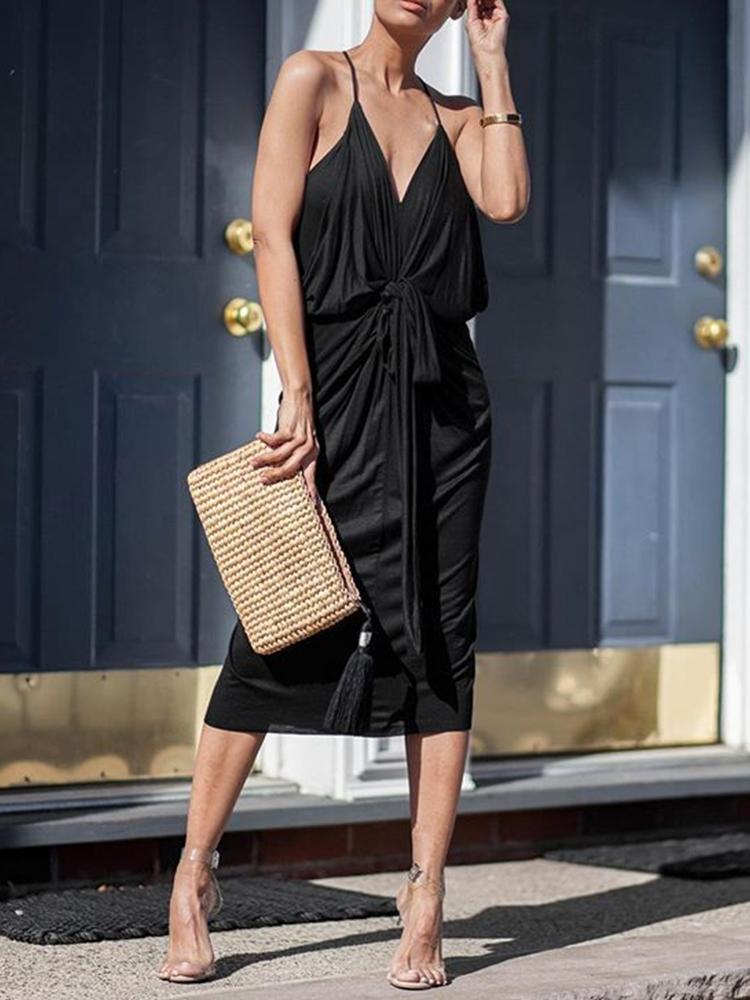 Knot Front Plunge Cowl Casual Dress