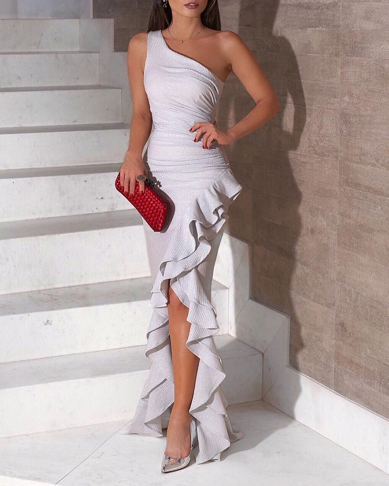 chicme / One Shoulder Ruched Ruffles Slit Dress