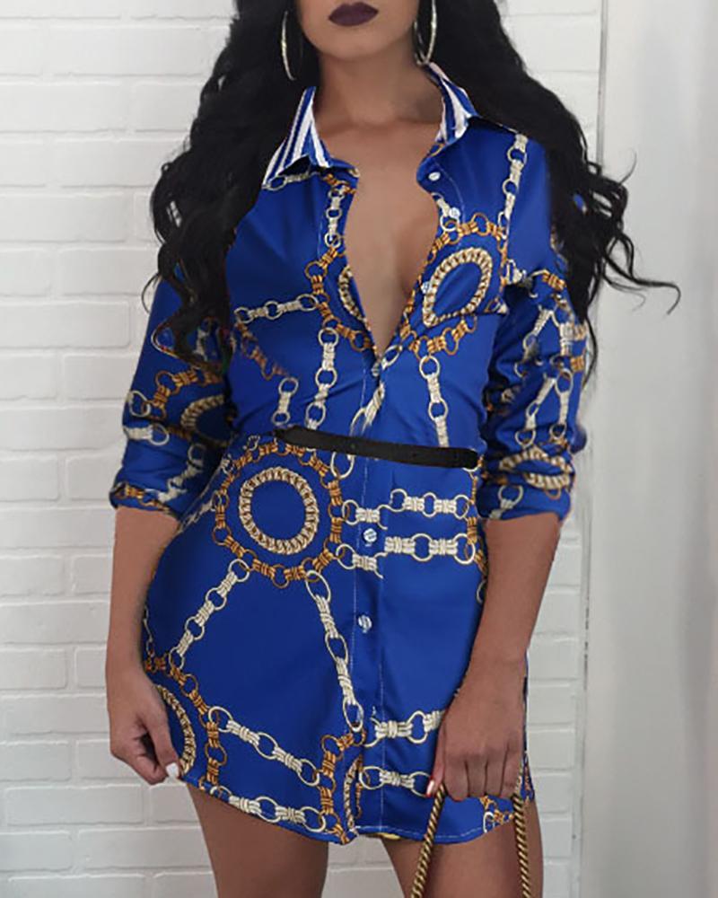 Multicolor Print Casual Shirt Dress, Blue