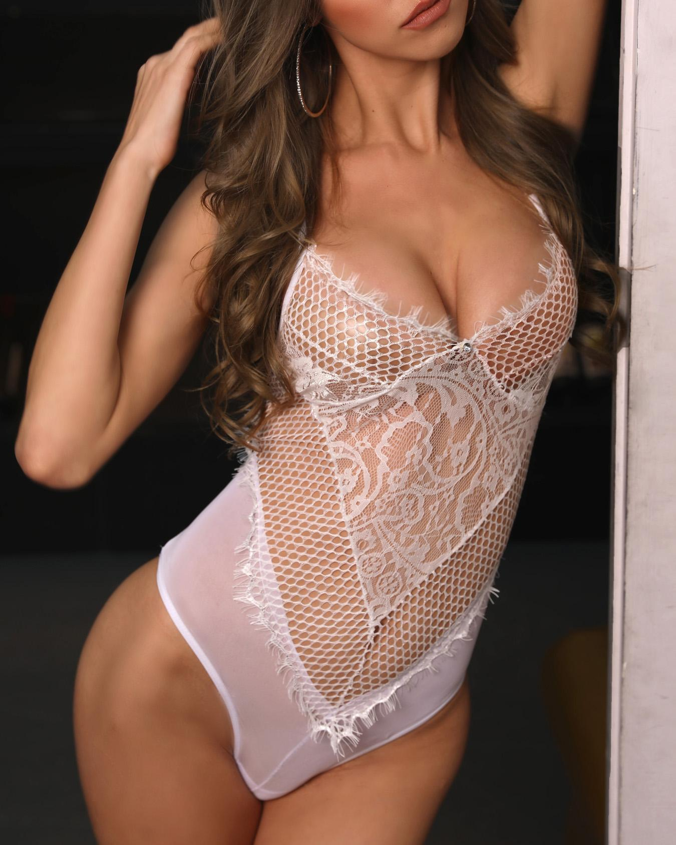 Low Cut Piercing Mesh Lace Lingerie
