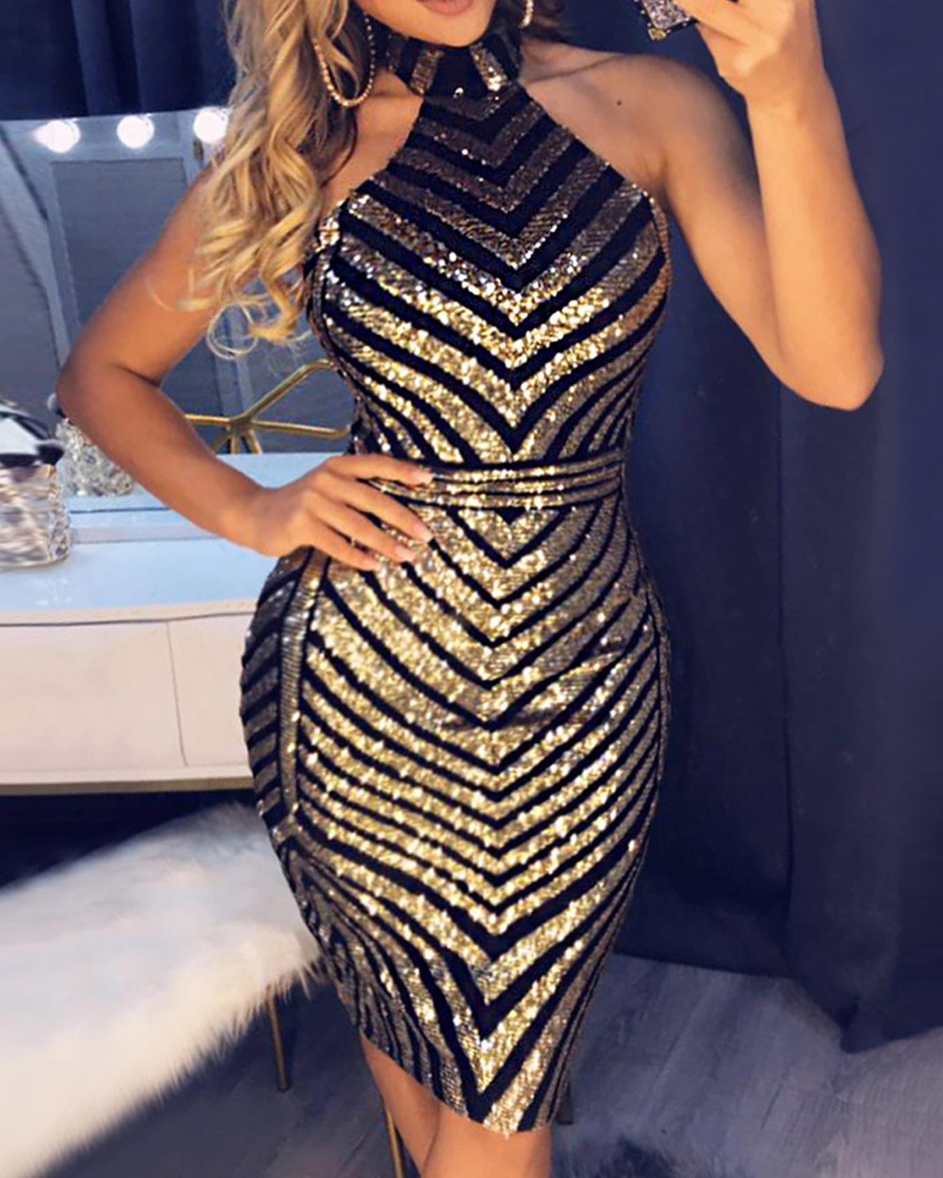 boutiquefeel / Open Back Chevron Sequin Bodycon Dress