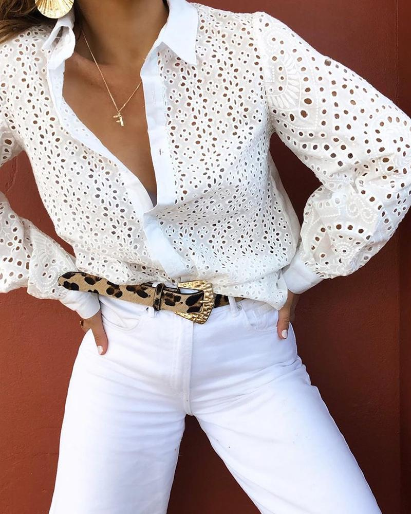 Broderie Anglaise Lace Hollow Out Lantern Sleeve Shirt фото