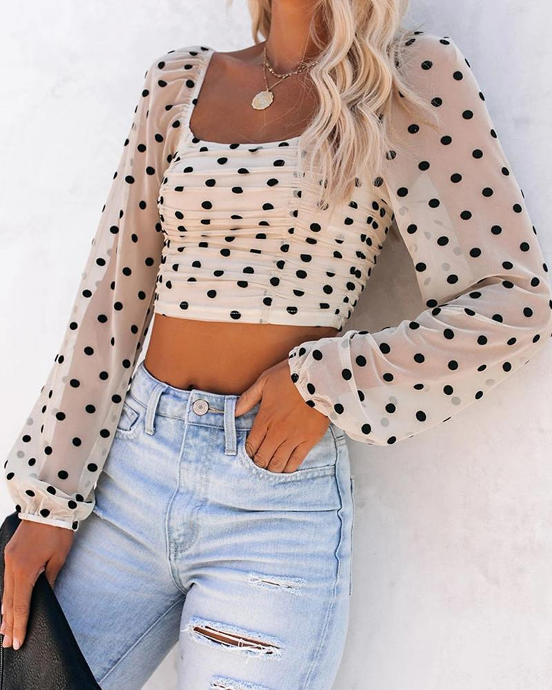 Sheer Mesh Dot Print Lantern Sleeve Top фото