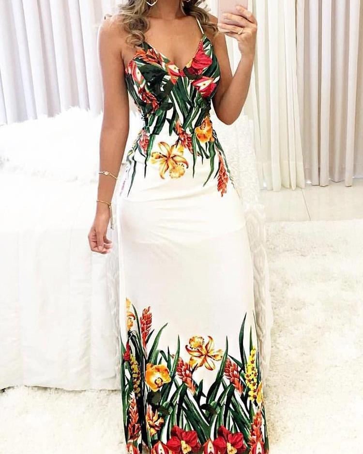 boutiquefeel / Vestido maxi con estampado floral en V profundo