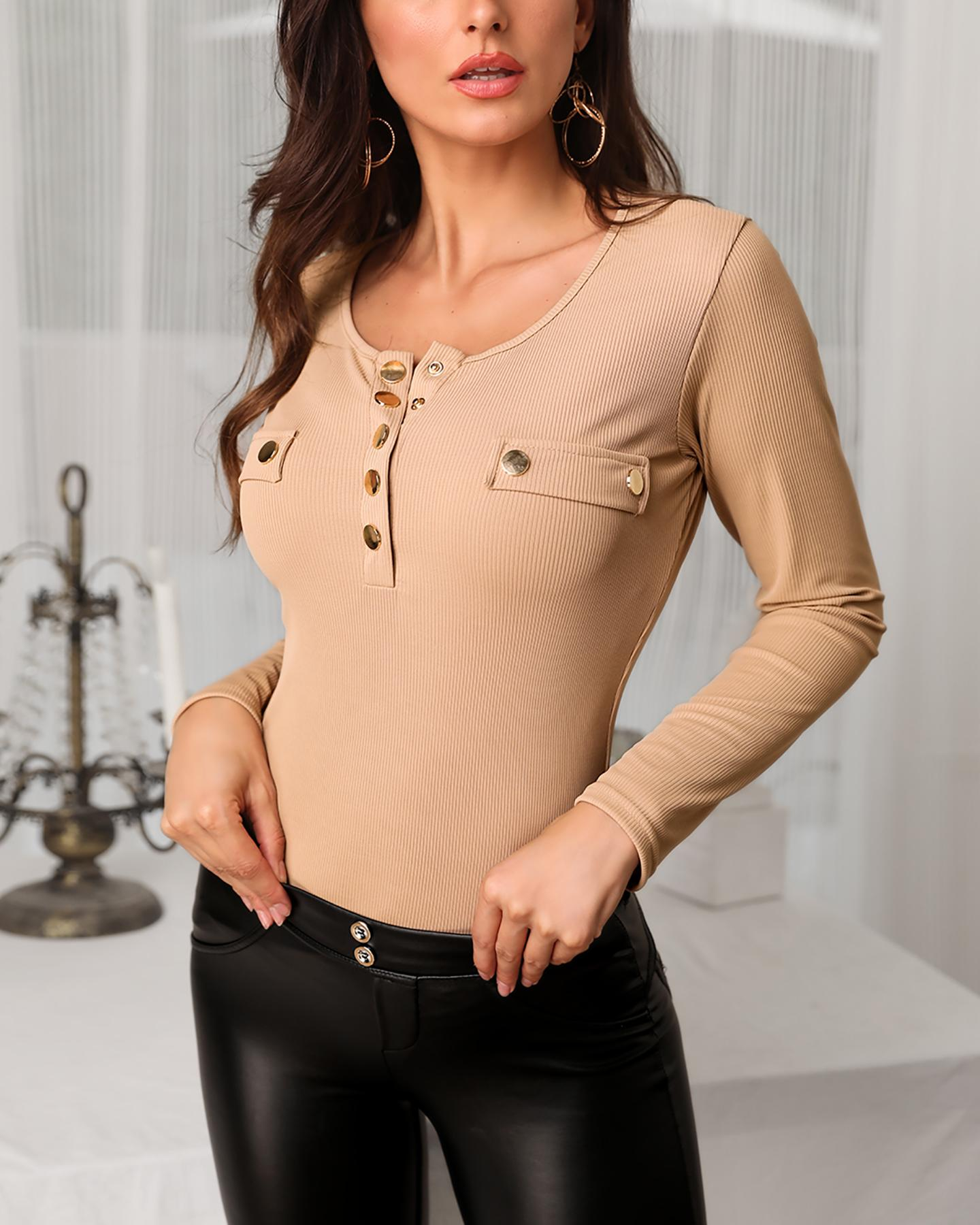 Long Sleeve Metal Buttoned Blouse фото