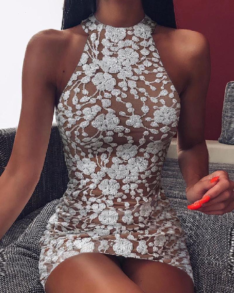 ivrose / Vestido ajustado con bordado sin mangas halter