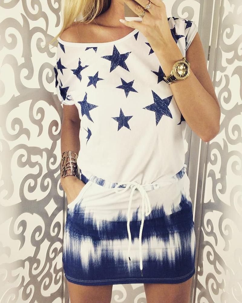 chicme / Vestido informal con lazo y estampado tie dye de Star