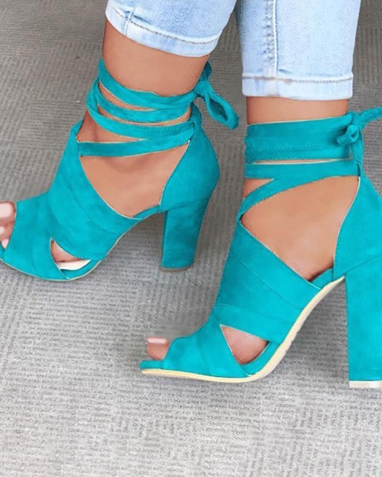 Lace Up Block Heels Sandals фото