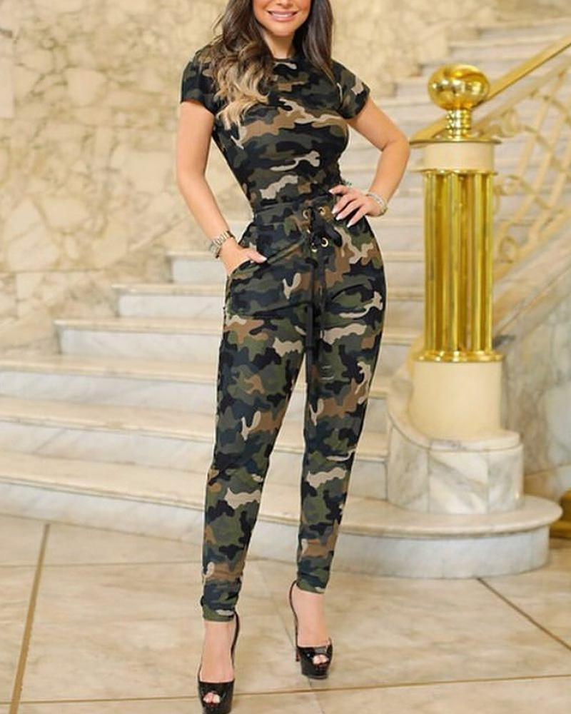 boutiquefeel / Camouflage Short Sleeve Top & Pant Sets