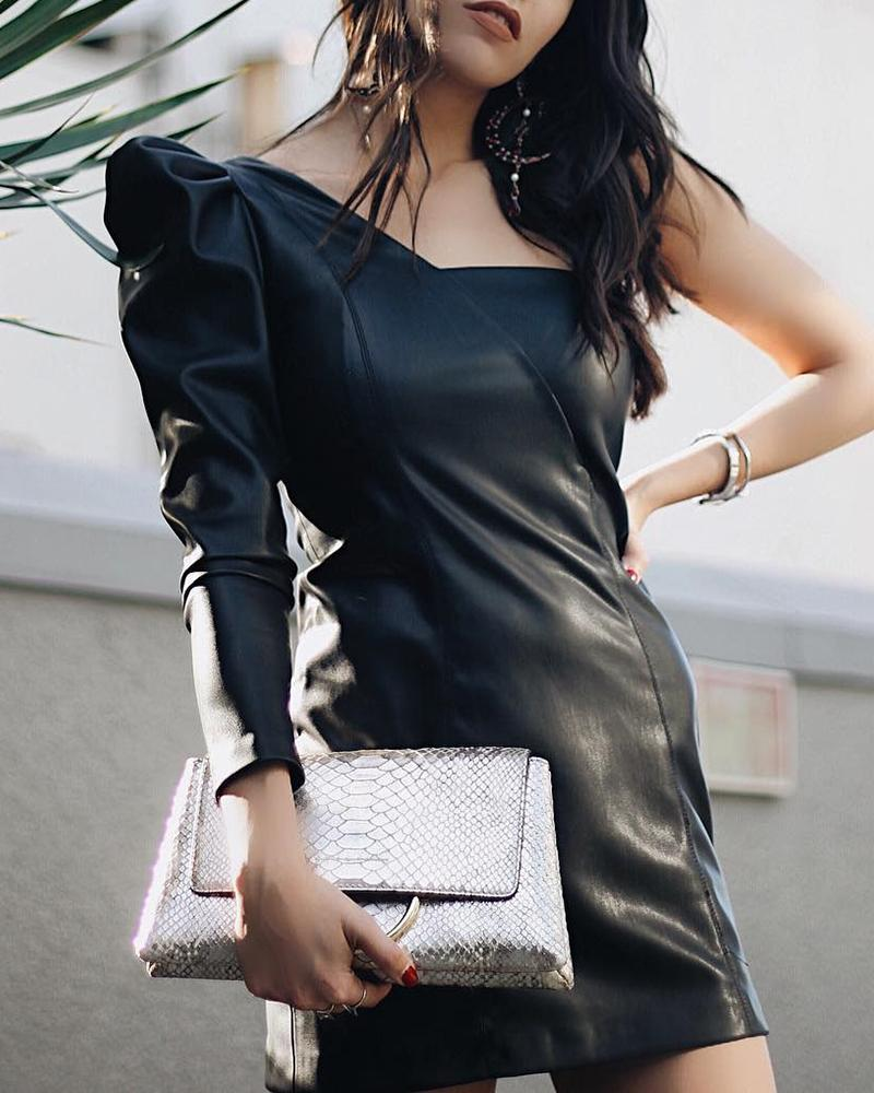 chicme / Solid PU Puff Sleeve Ruched Bodycon Dress