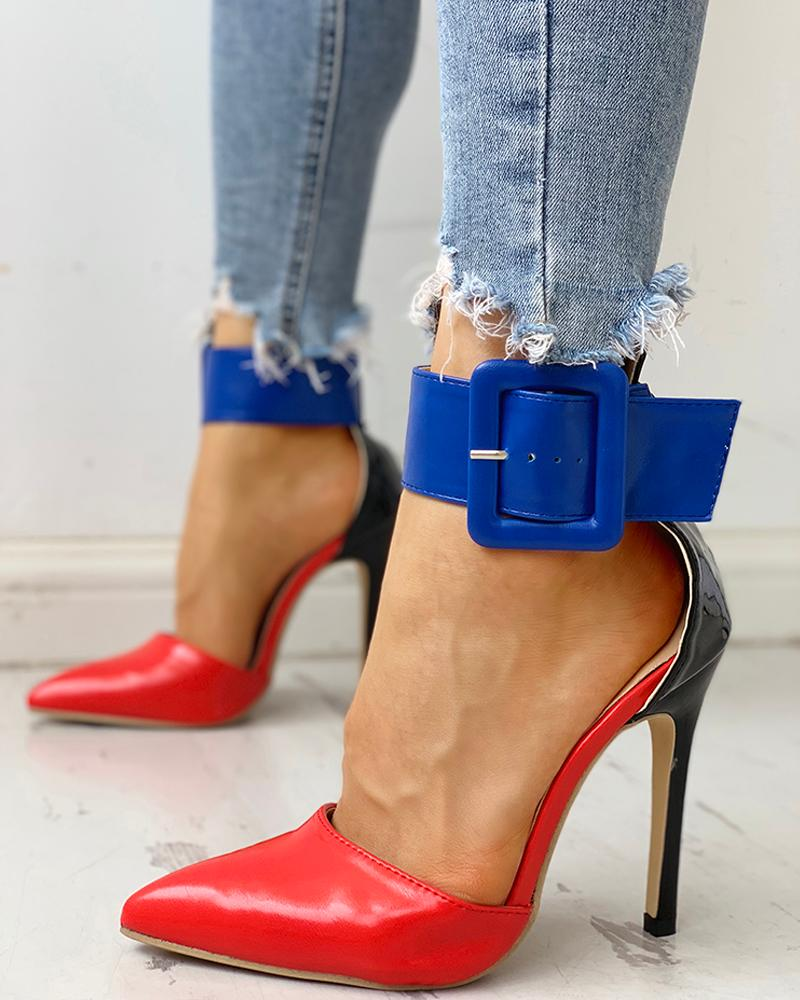 Pointed Toe Ankle Buckled Thin Heels