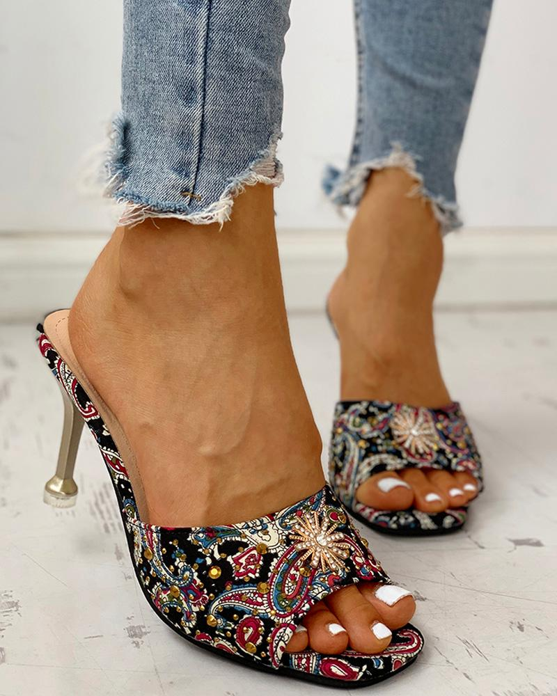 boutiquefeel / Ethnic Print Studded Detail Thin Heels