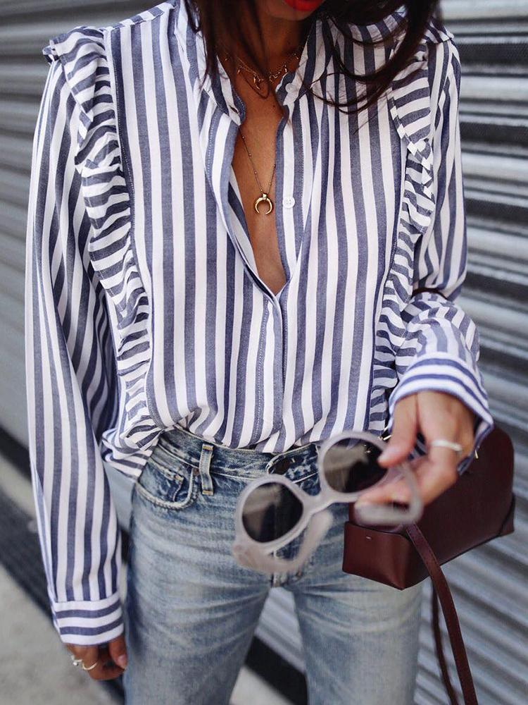 Ruched Ruffle Trims Stripe Print Casual Blouse
