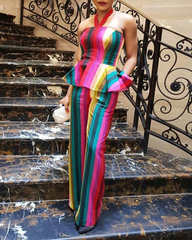 joyshoetique / Rainbow Stripe Print Peplum Top and Pants Sets
