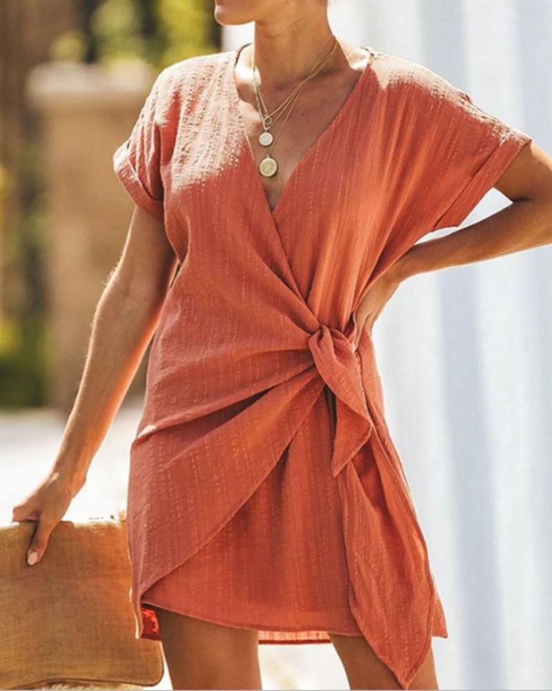 Short Sleeve V-neck Wrap Knot Side Casual Dress фото