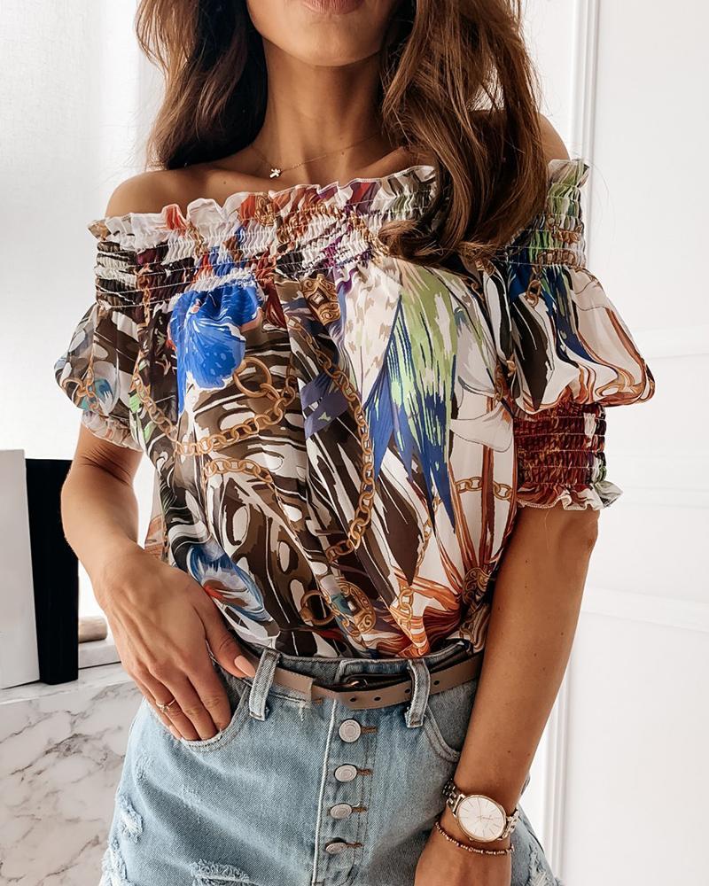 Floral Chain Print Off Shoulder Ruffles T-shirt фото