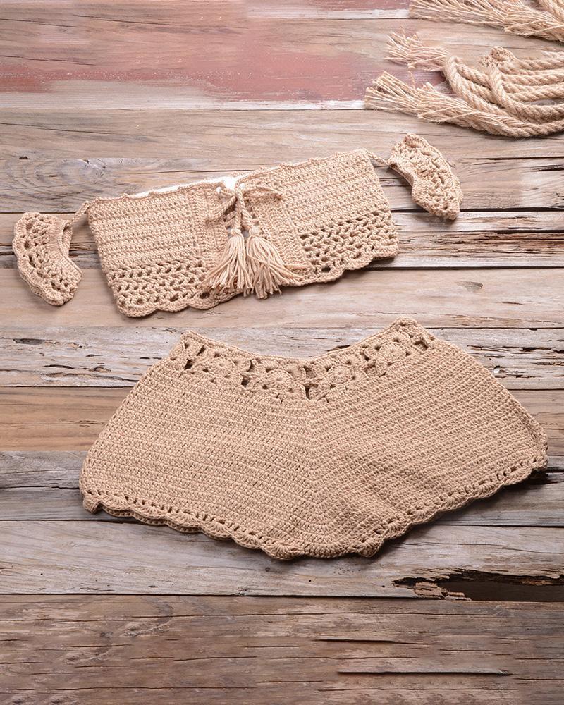 Hollow Out Tassel Design Crochet Tankini Set фото