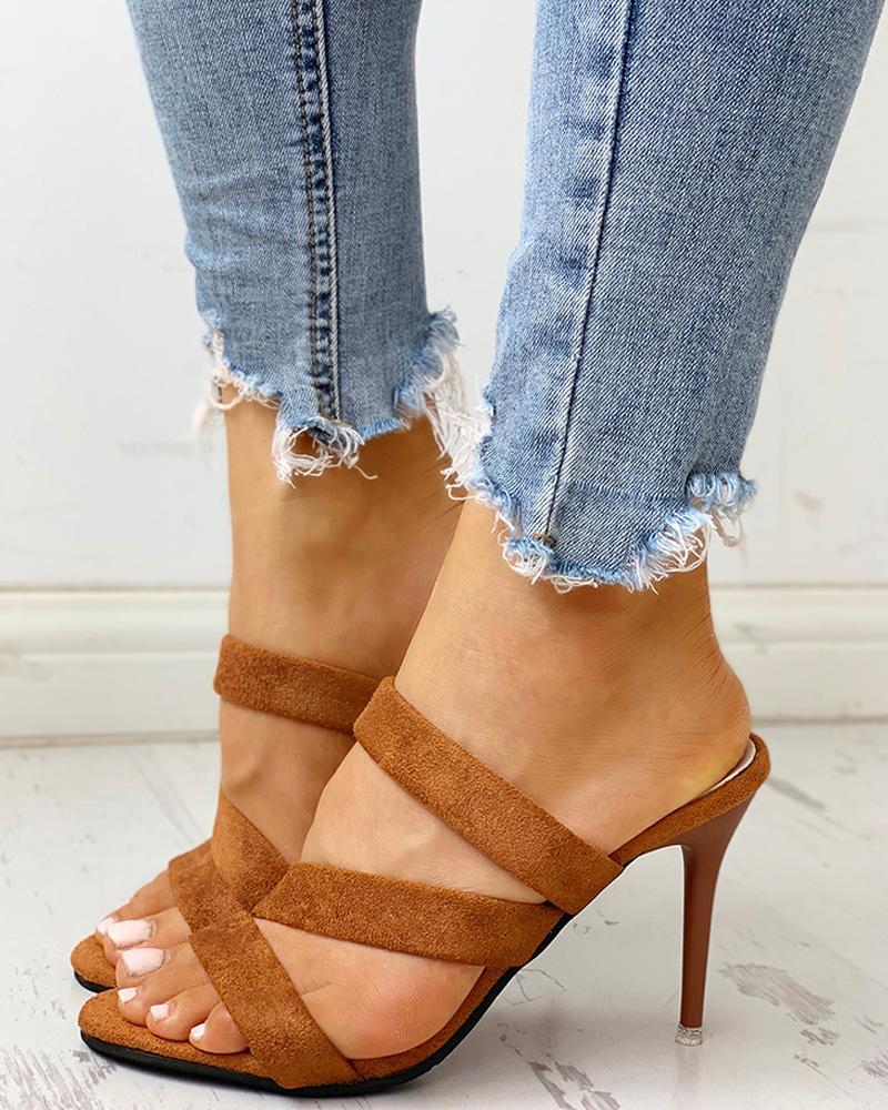 joyshoetique / Crisscross Bandage Slingback Thin Heeled Sandals