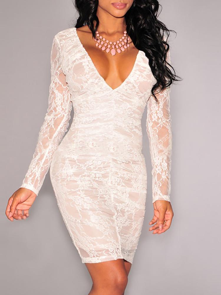 Double V-Neck Slinky Lace Dress